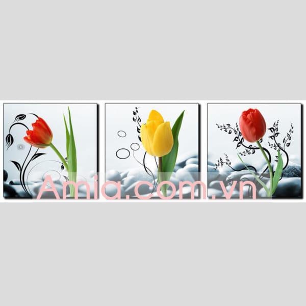Hinh anh dai dien mau tranh hoa tulip ghep bo 3 tam AmiA