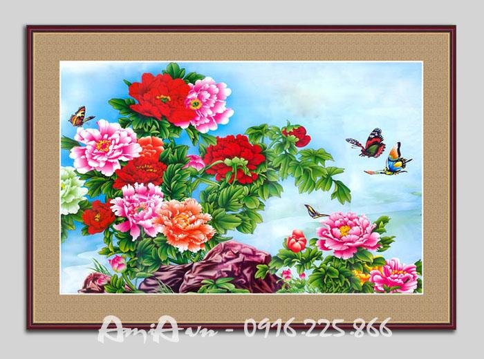 Hinh anh buc tranh hoa mau don hop phong thuy phong khach phong ngu AmiA