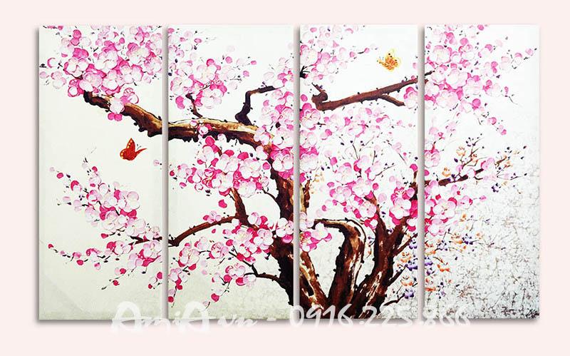 Hinh anh tranh canvas ghep bo hoa dao AmiA