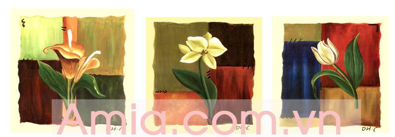 Hinh anh tranh canvas ghep bo hoa la 3 tam AmiA 4142