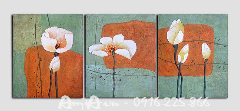 Hinh anh tranh canvas ghep bo hoa sen 3 tam