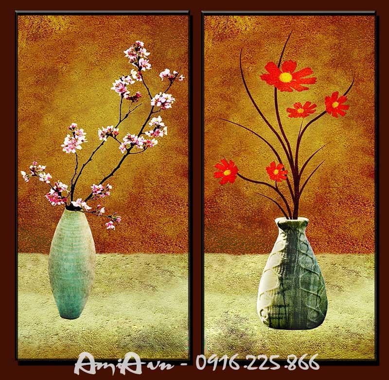 Hinh anh tranh canvas hai binh hoa dep