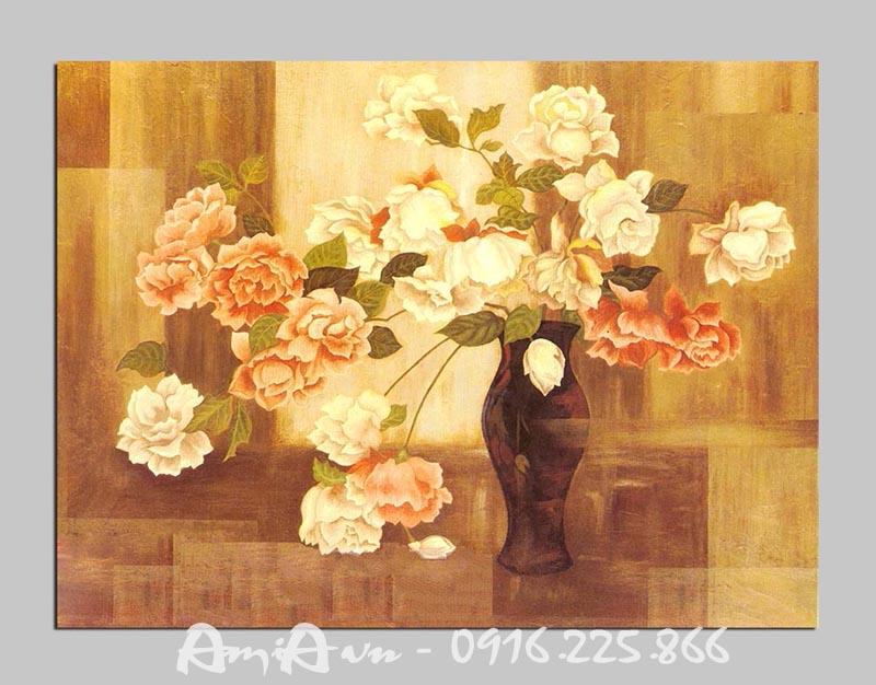 Hinh anh tranh canvas hoa hong trang tri phong khach phong an dep