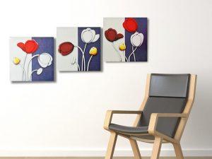 Hinh anh tranh canvas hoa tulip hop treo cau thang phong khach phong an