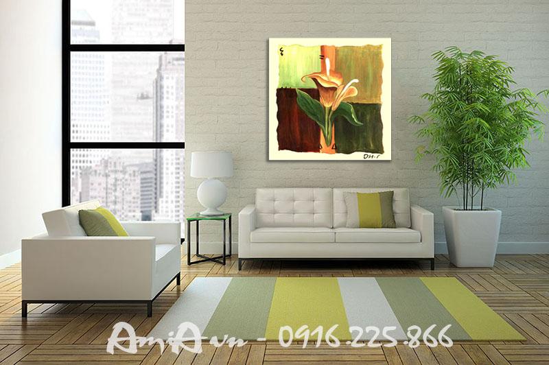 Hinh anh tranh canvas trang tri phong khach hoa rum