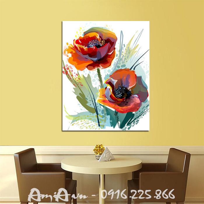 Hinh anh buc tranh canvas trang tri quan cafe hoa poppy nghe thuat AmiA