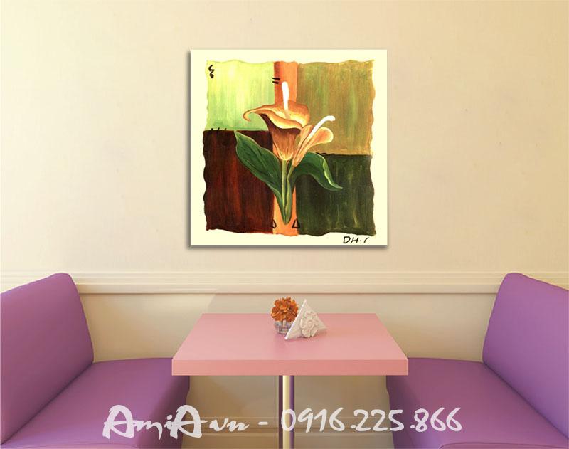 Hinh anh tranh canvas trang tri quan cafe hoa rum mot tam
