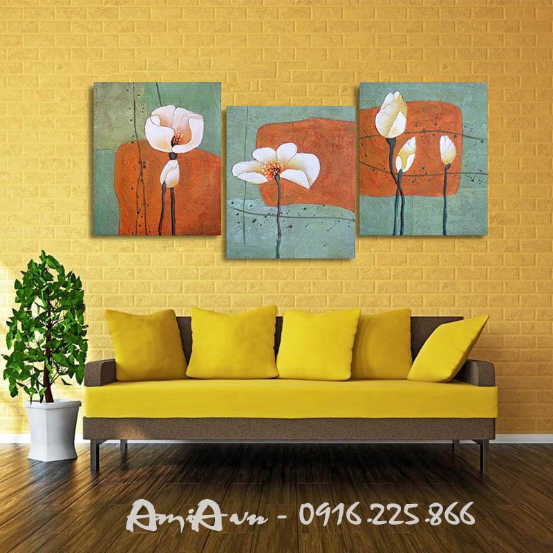 Hinh anh tranh canvas treo phong khach dep hoa sen 3 tam