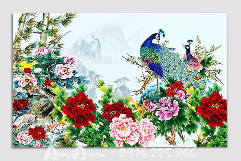 tranh vo chong chim cong treo phong ngu