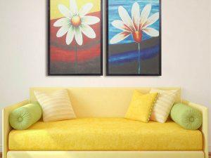 Hinh anh tranh treo phong khach cau thang bo hoa la 2 tam in vai canvas AmiA