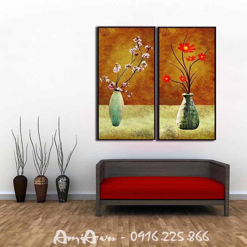 Hinh anh tranh treo tuong canvas hai binh hoa dep AmiA