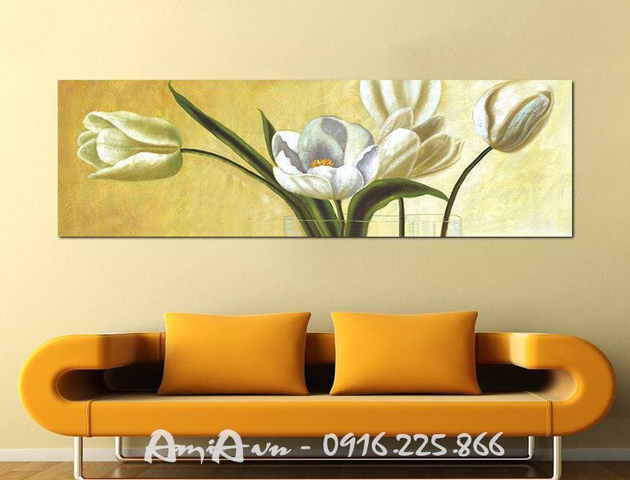 Hinh anh tranh canvas trang tri noi that dep hoa tulip