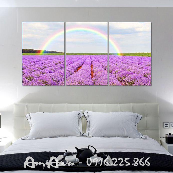 tranh ghep bo 3 tam hoa lavender