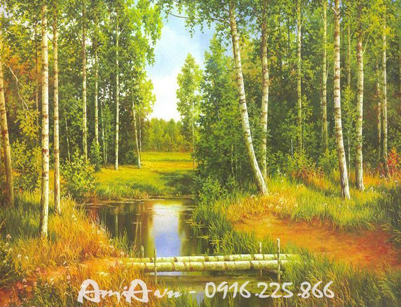 Hinh anh tranh khung canh khu rung in vai canvas AmiA