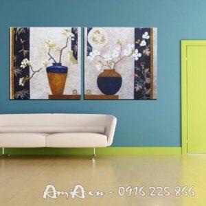 tranh binh hoa mai in canvas