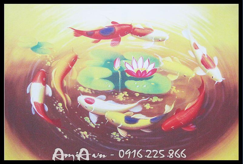 tranh ca chep hoa in vai canvas