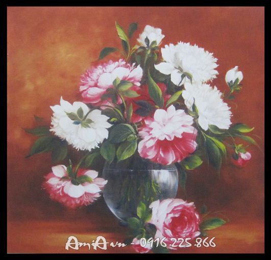 tranh canvas binh hoa mau don