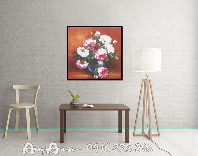 tranh dep treo tuong hoa mau don in canvas