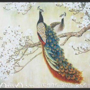 tranh canvas doi chim cong tinh yeu