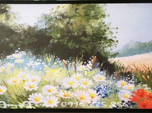 tranh canvas vuon hoa cuc