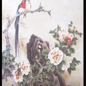 tranh hoa mau don va chu chim in canvas