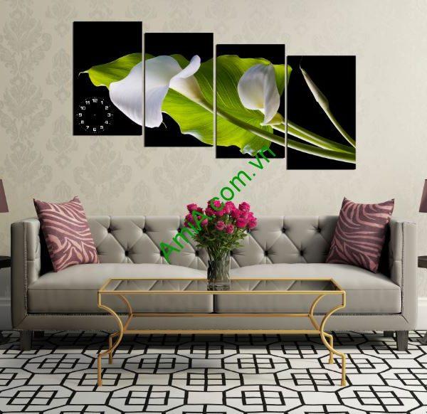 tranh hoa rum trang treo tuong
