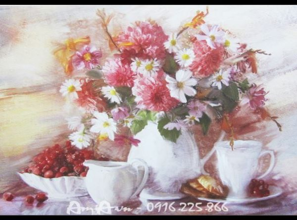 tranh binh hoa co dien in canvas