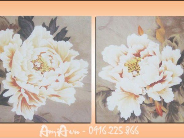 tranh canvas hoa mau don dep