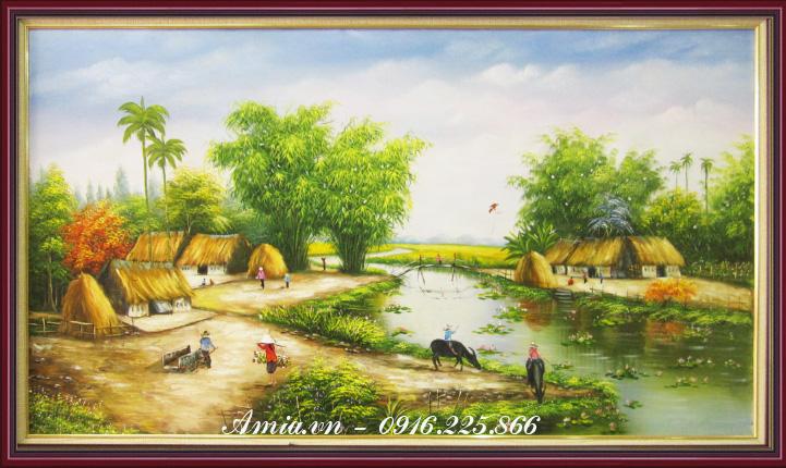 tranh phong canh nong thon vung song nuoc