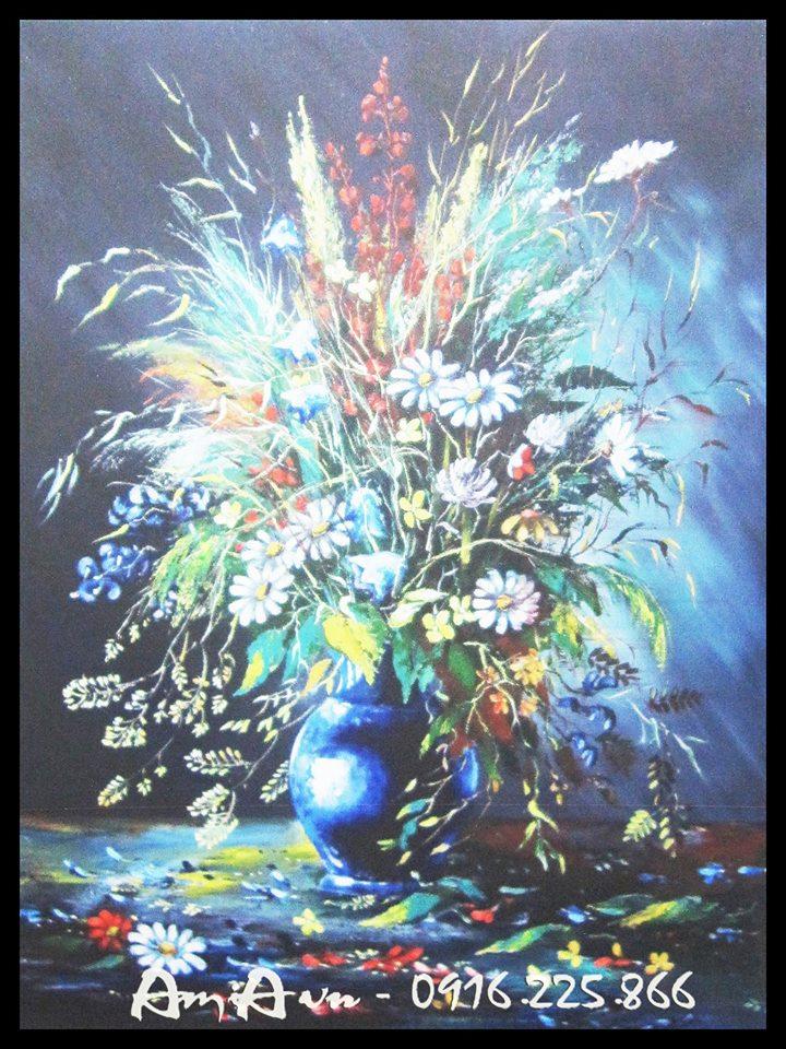 tranh in canvas binh hoa dep
