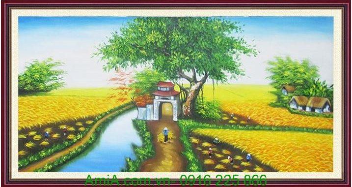 tranh phong canh canh dong lua
