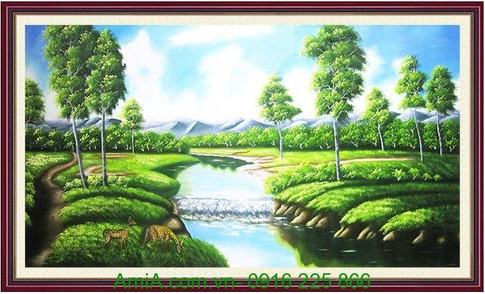 tranh ve phong canh khu rung xanh