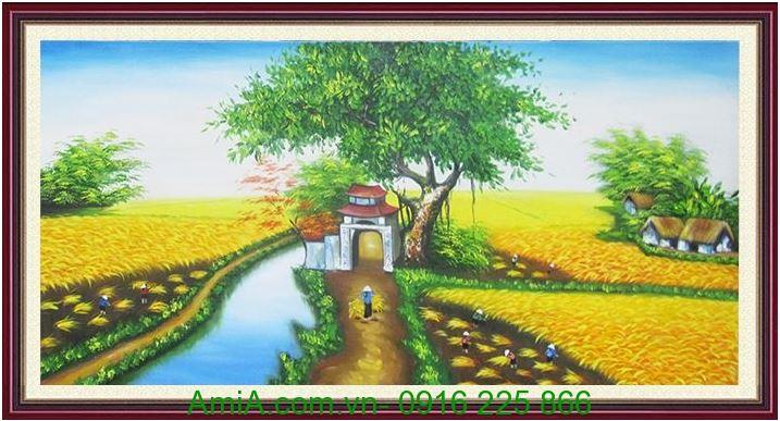 tranh treo tuong phong khach canh dong lua chin