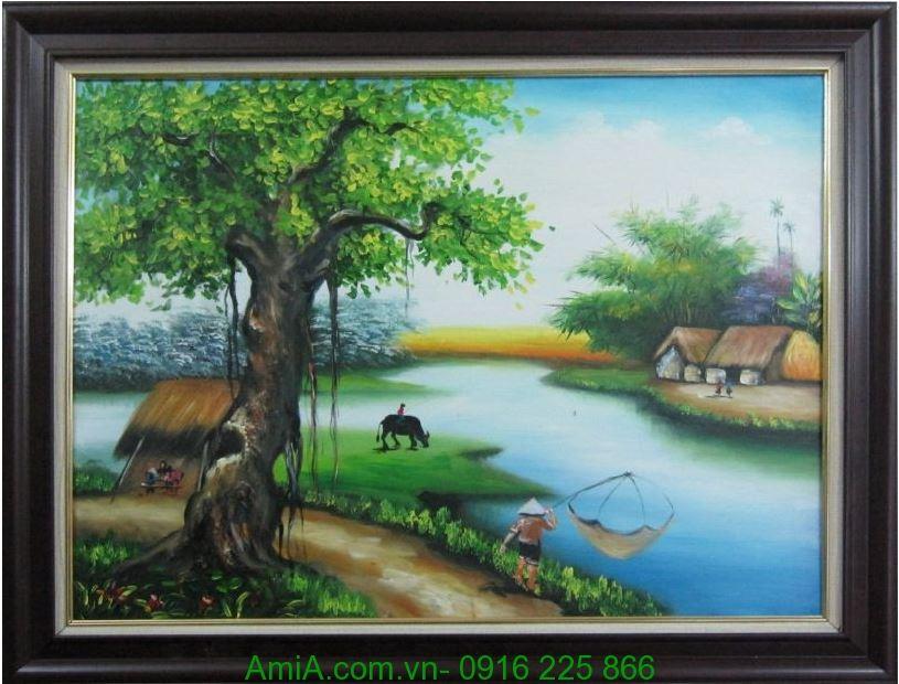 tranh phong canh lang que Viet Nam