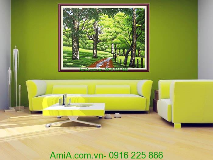 tranh phong canh don dau hang cay xanh
