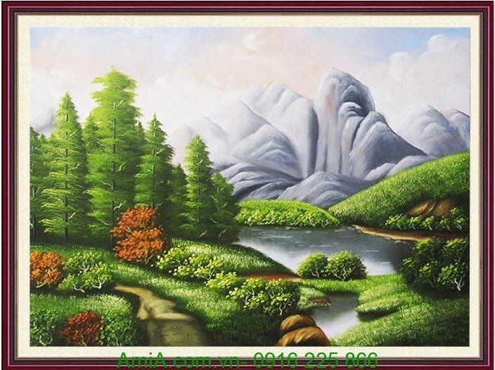tranh son dau phong canh song nui