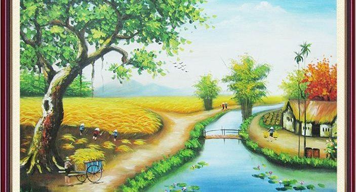 Kết quả hình ảnh cho tranh phong cảnh quê hương
