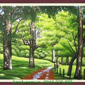 tranh son dau phong canh hang cay xanh