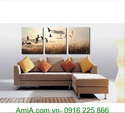 tranh phong canh dan chim