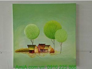 tranh phong canh cay xanh