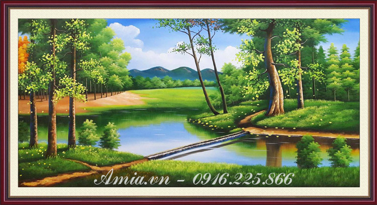 tranh son dau phong canh khu rung nuoc ngoai