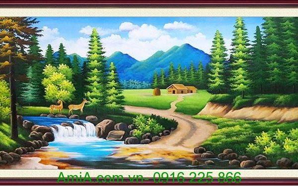 tranh phong canh thien nhien nui rung