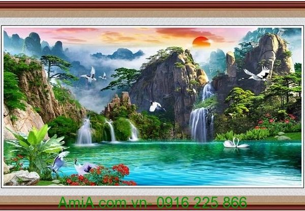 tranh phong canh song nui