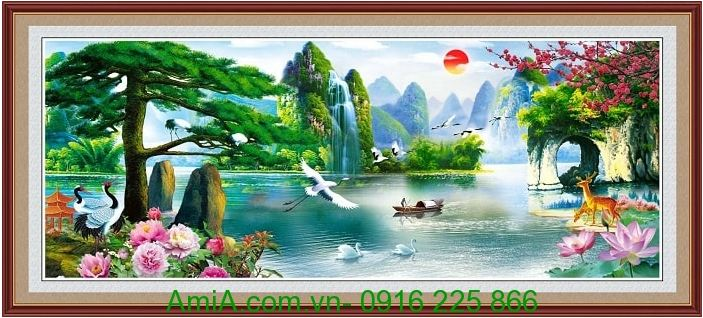 tranh phong canh dep in 3d song nui