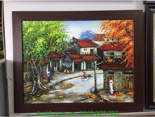 tranh ve son dau phong canh pho co