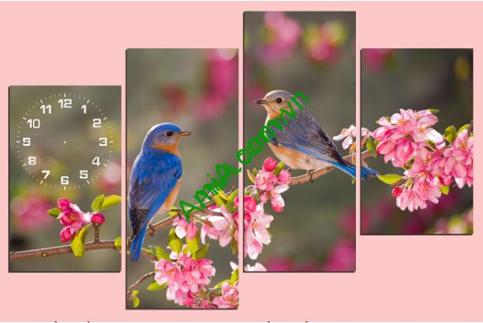 tranh treo tuong doi chim tren nhanh hoa ghep bo