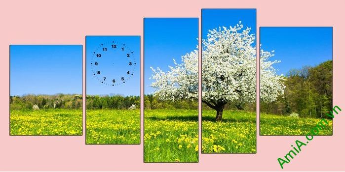 tranh phong canh canh dong hoa mua xuan