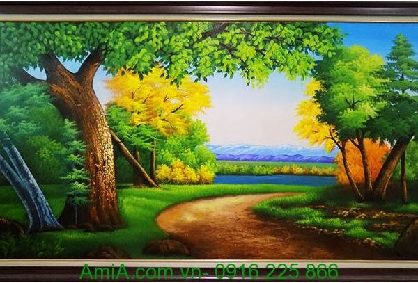 tranh phong canh khu rung chau au