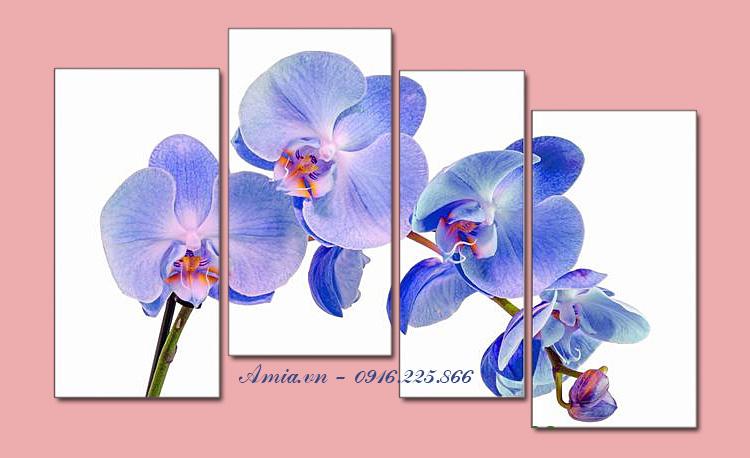 tranh nhanh hoa lan xanh treo phong ngu ghep bo