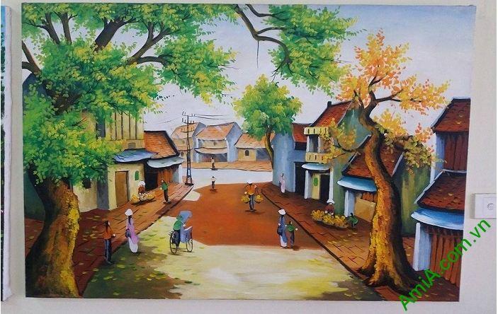 tranh phong canh pho co Ha Noi xua